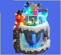 LED & Fiber Optic with Cascade & Moving train of Christmas Village