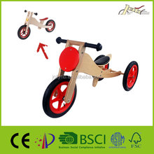 2-in-1 Bikes Wooden Tricycles for Kids Walking Training Walker
