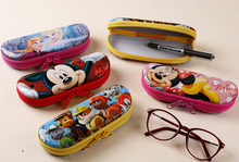 Wholesale kids metal tin spectacle pencil case with zipper
