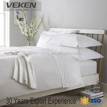 Veken products 400tcn 60sx60s plain white 100% white hotel cotton bed sheet set