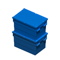 600*400*260mm pp plastic attached lid carriage tote bin for storage and transporting