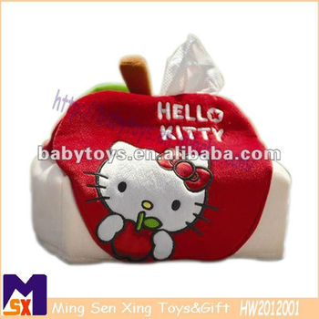 Custom design animal shape cute plush tissue box cover