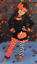 2 Pcs Designer Baby Long Sleeve Holiday Boutique Clothing Girls Pumpkin Funny Halloween Suits