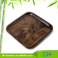 High Quality BSCI Black Walnut Wood Plate, Bamboo Dishes, Serving Wooden Square Shape Plates for Sale