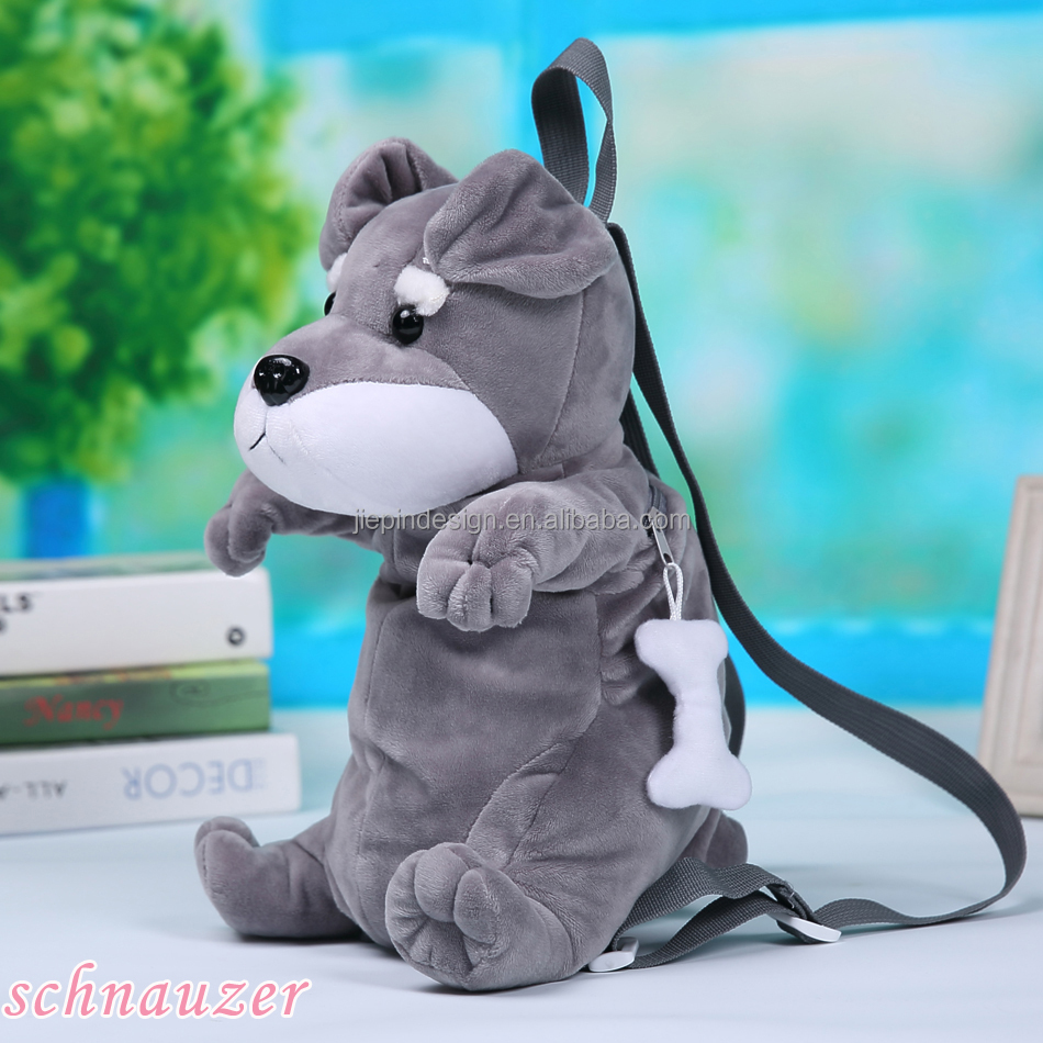 custom wholesale funny cute dog shaped plush animal backpack