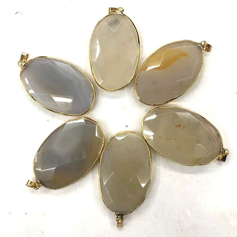 Oval Shape Druzy Geode Connector Wholesale Agate Geode Slice Gold Electroplated Pendant