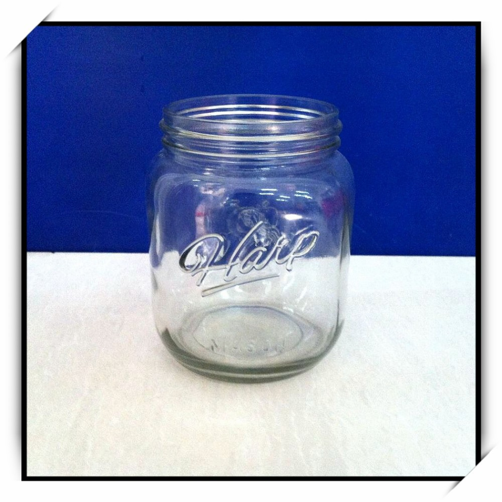 large 1000ml engraved ball mason glass storage jar wholesale for home juice DH32