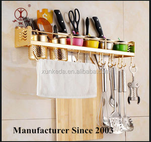 Golden Wall Mounted Kitchen Spice Rack w/ Utensil / Pot / Pan Hanger Hooks