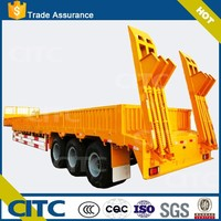 CITC stepwise type flat platform tri-axle low bed semi trailer with side wall and mechanical crawling ladders