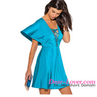 Deep V Neck Kimono Sleeve A Line new ladies casual dresses pictures
