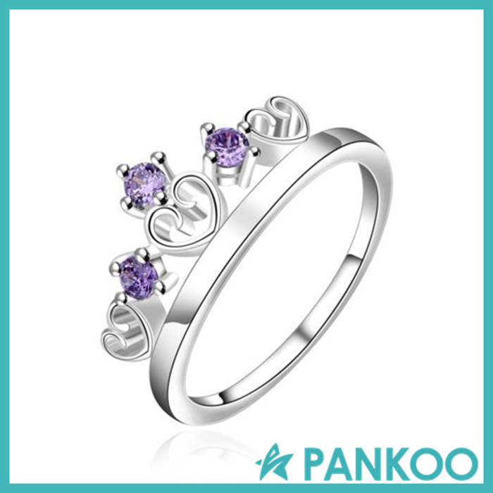 925 Sterling silver crown amethyst sapphire jewelry ring