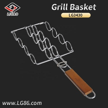 New-designed corn griller basket with chrome plated finish and solid wood handle