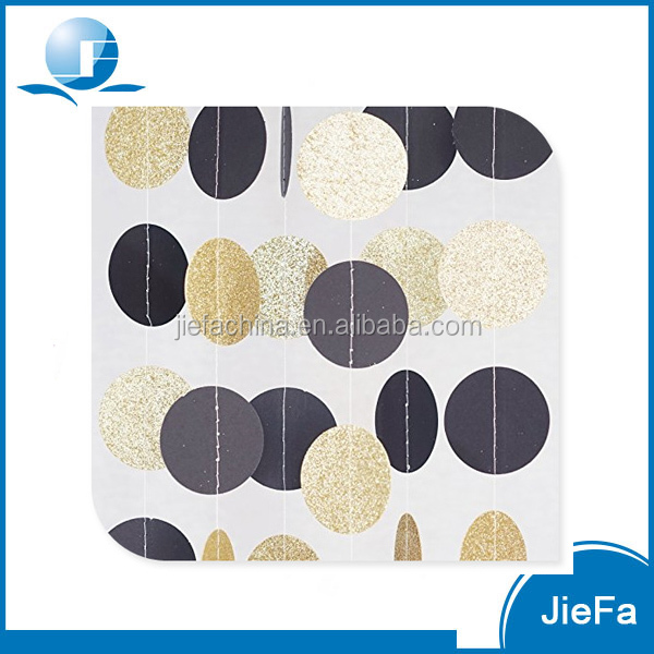 Circle Dots Paper Garland, Black & Gold Glitter for Wedding, Baby Shower Party Decorations