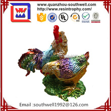 Retail Fashion Cock Chicken Shaped Golden Plating Metal Crystal Enamel Rhinestone Craft Gifts