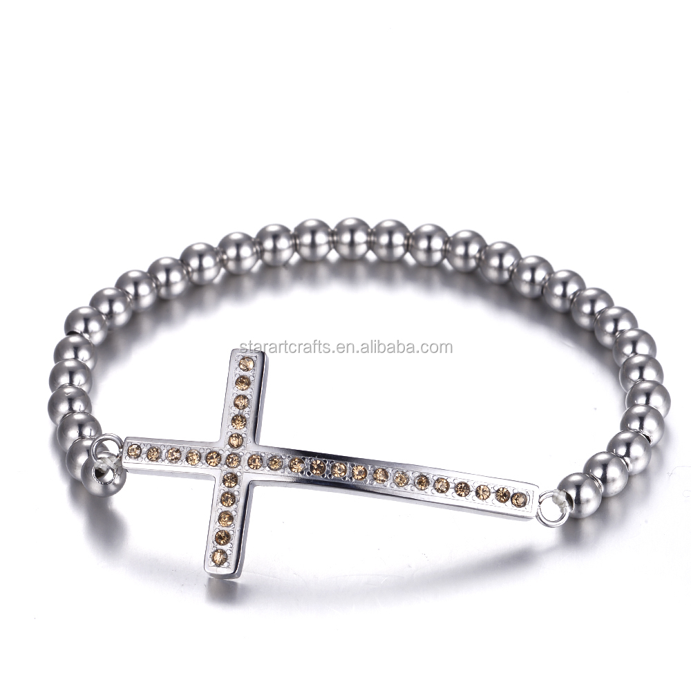 Stylish Christianity Prayer Jewelry Silver Plated Sideways Religious Jesus Cross Stainless Steel Bead Bangles With High Polished
