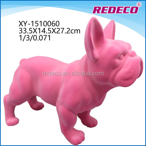 Resin flocked animal shaped dog statue craft for gift