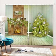 European Style Hometex Christmas Tree Wall Design Decorative 3D Photo Printed Window Curtains