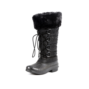 Winter rubber rain boot snow boots waterproof boots shoes mid half fleece lining fabric upper rubber outsole