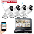 CCTV Wireless Camera Systems 4CH 9 inch Monitor Auto Pair 4 x HD 960P 1.3M Security Cameras Outdoor Home Video Surveillance Day