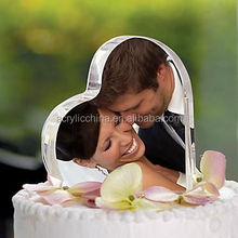 Heart Shape Romantic Wedding Acrylic Cake Topper With Couple Photo