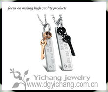 Stainless Steel Black And Gold Tone Thank you for being beside me Key Couples Pendant Necklace Set