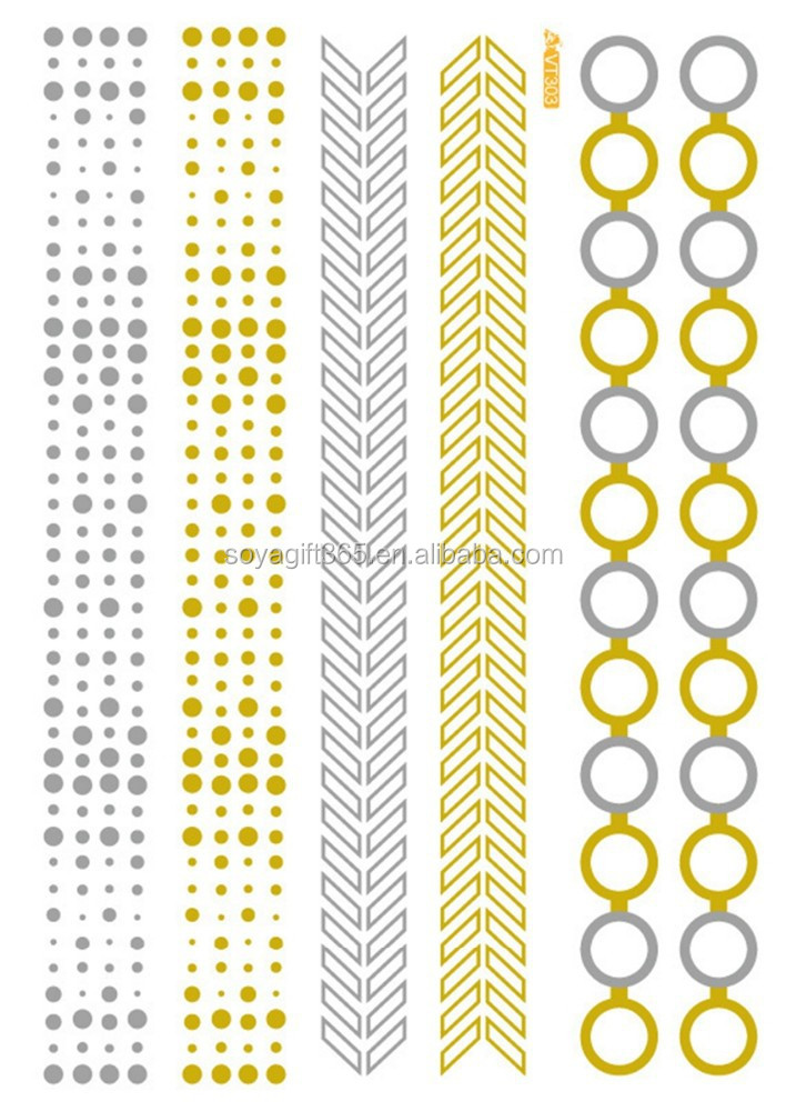 Waterproof Metallic Gold Silver Dot Circle bracelet Design tattoo stickers