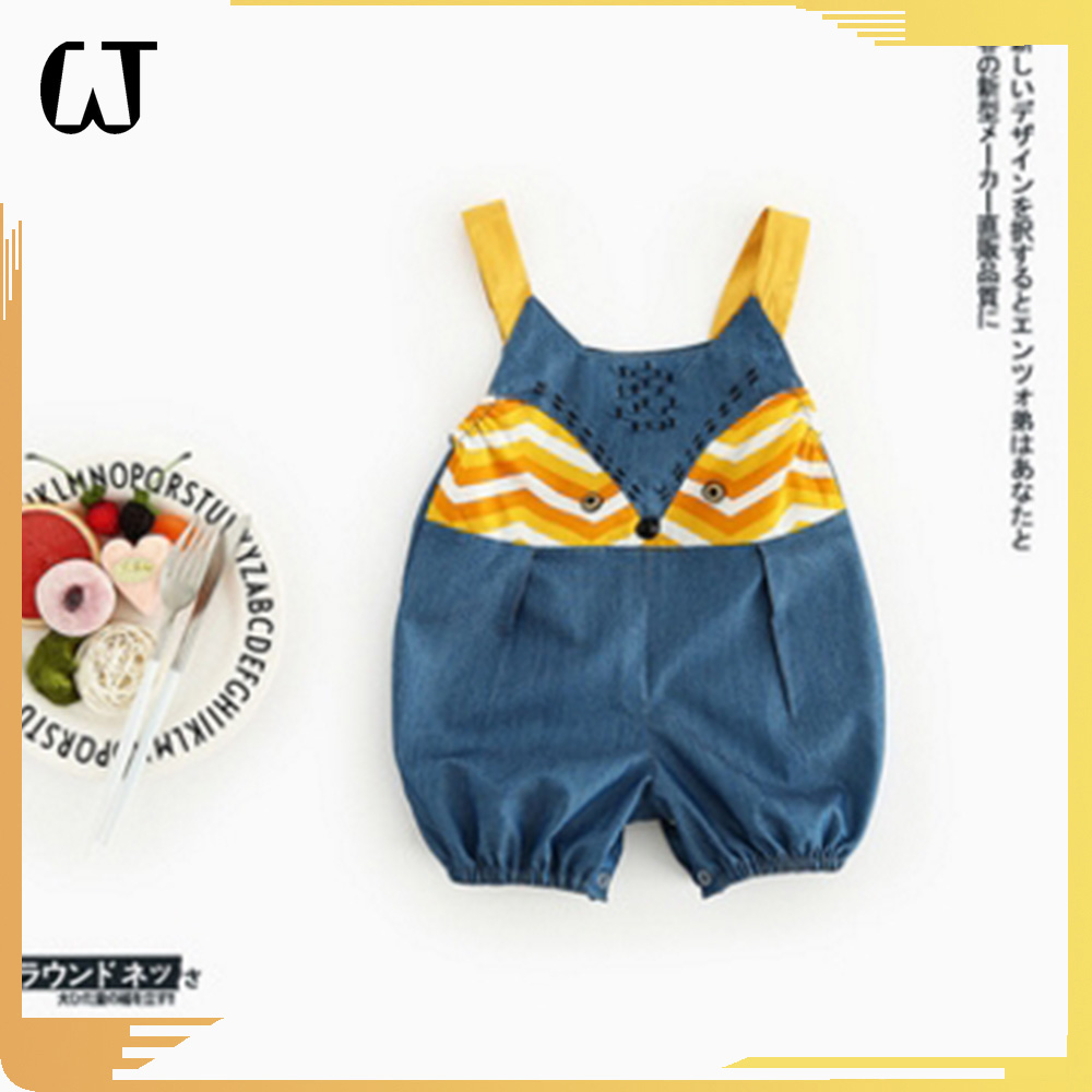 F6538#2017 latest fashion top design cute fox cartoon baby clothes Casual Cowboy Unisex denim rompers jeans wholesale
