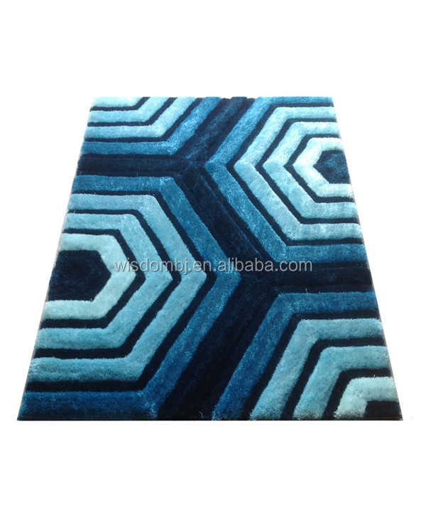 Selling well hotel style polyester 3D shaggy floor shiny carpet