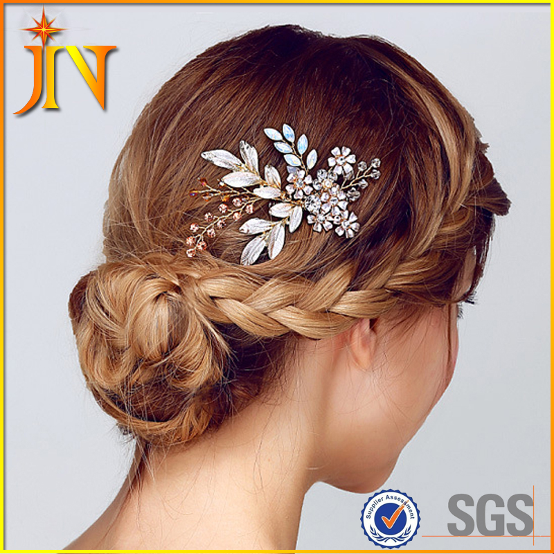 HB0027 JN luxury wedding <strong>hair</strong> comb crystal rhinestone jewelry gift bride <strong>hair</strong> pin handmade head <strong>accessories</strong>