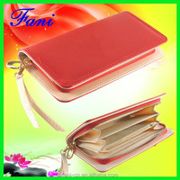 Sigle zipper design multi card slots genuine leather wallet for ladies or girls