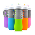 Collapsible silicone water bottle leak proof silicone foldable drink bottles for sports camping