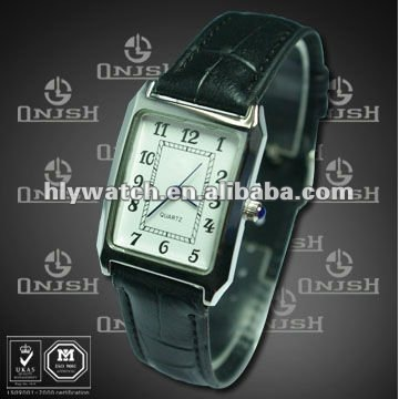 Latest Leather Strap Square Watch Face Sports Watch for Men and Women,Promotional Black Leather Watch Hot Wholesale HK-209