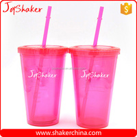 AS Material Double Wall 450ML BPA free Plastic Cup with Straw - Pink Color