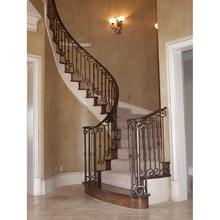 Luxury antique decorative curved wrought iron indoor stair railing designs