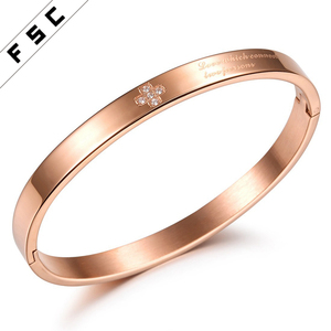 High Quality Gold Plated Bangles Models Stainless Steel Jewellery Sideways Rhinestone Cross Bracelet for Women