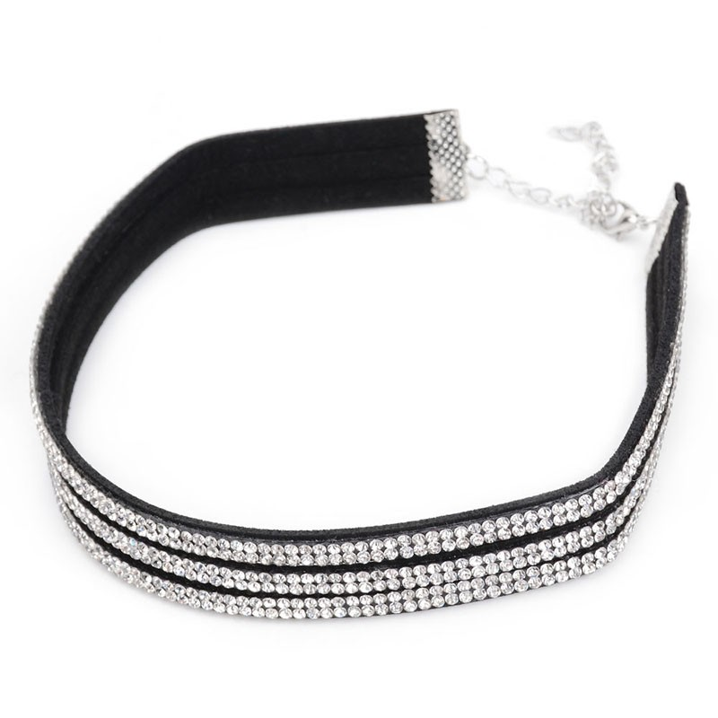 Simple Decent Fashion Six Row Crystal Choker Necklace