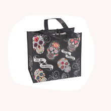Cute design fancy flower skull printed black foldable tote non woven shopping bag