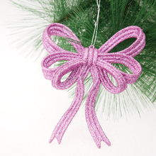 "5""(H) Christmas plastic Bow with glittered ornament Christmas tree decorations"