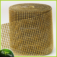 Hot sell Golden Crystal Rhinestone Net Mesh For Home/Wedding/Shoes/Party/Cake Decoration