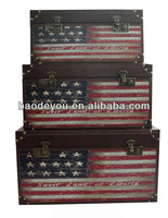 the Stars and the Stripes wooden trunk for cloth sundry box