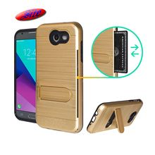 Card holder case for cell phone,Dual layer brushed hair line case For Samsung J2 Prime