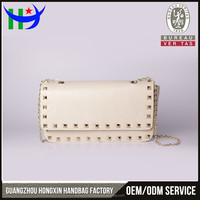 Hard Case Genuine Leather Fashion Clutch Evening Bag With Chain Wholesale Rivet White Bag