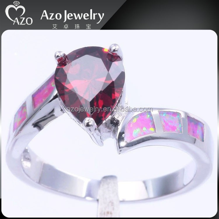 Popular 925 Sterling Silver Pink Fire Opal Large Ruby Rings