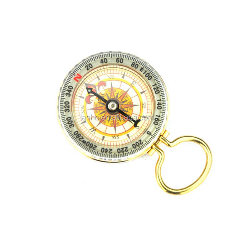 New Design Holding Hanging Key Ring Portable Pocket Watch Style Brass Luminous Compass Outdoor Hiking Camping Navigation Compass