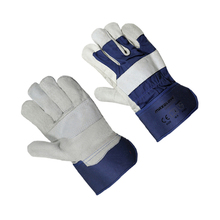 Cheap cow split leather polycotton drill fabric work labor gloves