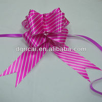 Purple Gift Ribbon Pull Bow With Stripes