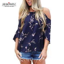 Thời trang O Neck Floral Print cold Shoulder Woman Top