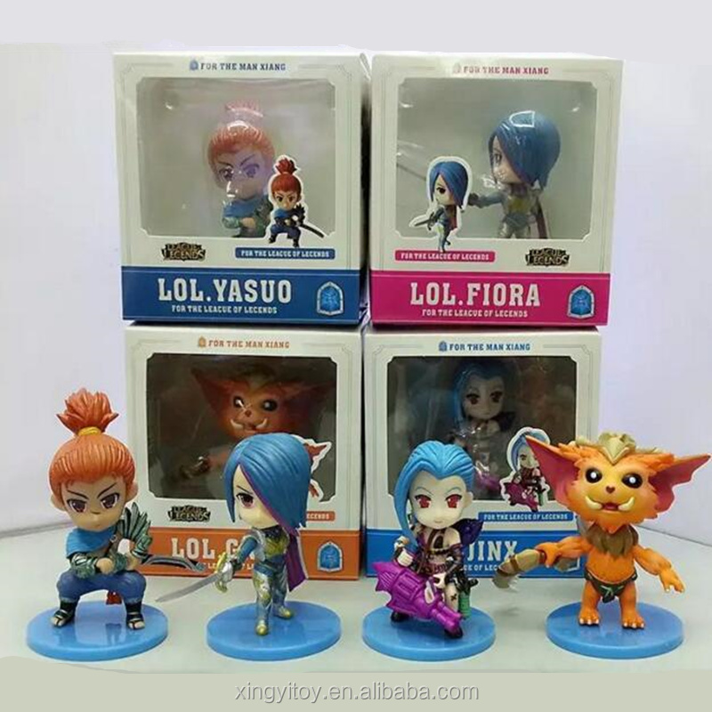 Game video League of Legends LOL 4pcs set Fiora Laurent/Gnar/Jinx/Yasuo toy action figure