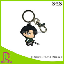 charm cartoon character shaped 3d pvc keychain rubber 2d key chain