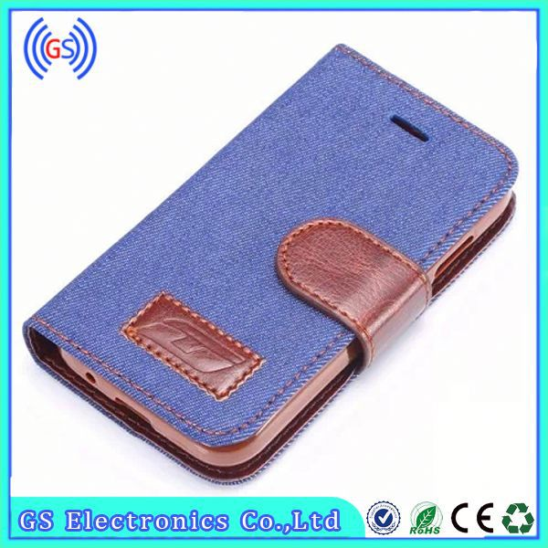 Leather Flip Case For Samsung Galaxy Mini S5570 Factory Jeans Wallet Leather Case
